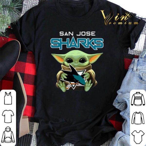 Baby Yoda hug San Jose Sharks Star Wars Mandalorian shirt sweater