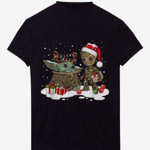 Hot Baby Yoda And Groot Santa Christmas shirt