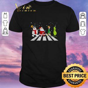 Hot Christmas Santa Elf Grinch Abbey Road characters shirt