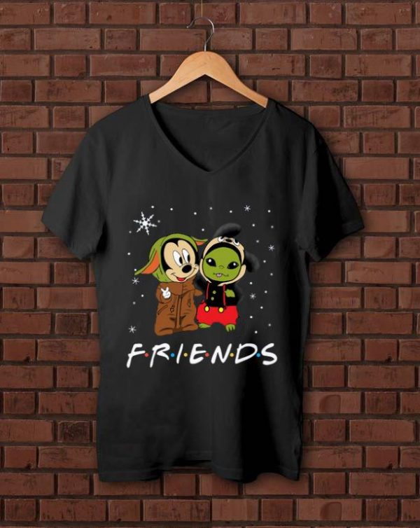 Nice Baby Yoda and Mickey Mouse Friends snow christmas shirt