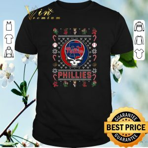 Nice christmas ugly philadelphia phillies grateful dead sweater