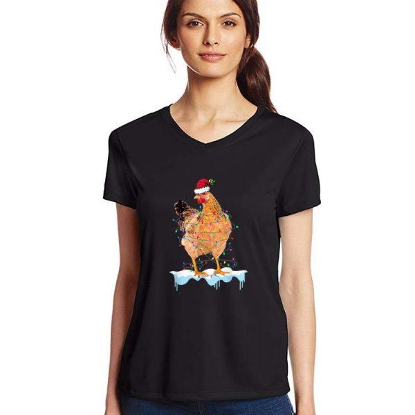 Original Chicken Lights Santa Hat Christmas Chicken Lover Xmas shirt