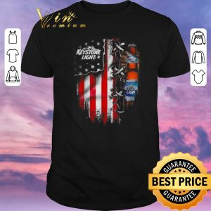 Premium Keystone Light beer inside American flag shirt sweater