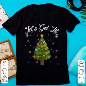 Pretty Let's Get Lit Christmas Tree Funny Drinking Gift sweater