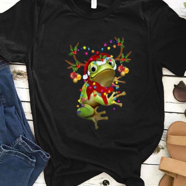 Pretty Santa Frog Reindeer Light Christmas shirt
