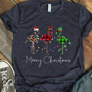 Top Flamingo Leopard Plaid Pajamas Merry Christmas shirt