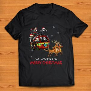 Top Horror character Hippie car riding Reindeer we wish you a merry christmas shirt