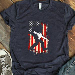 Awesome Bigfoot hold gun Veteran America flag shirt