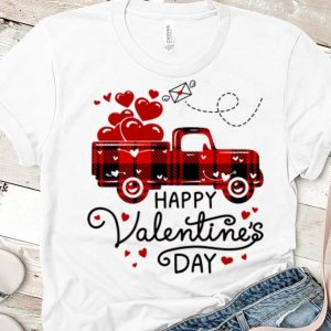 Awesome Happy Valentine's Day Red Plaid Truck Heart shirt