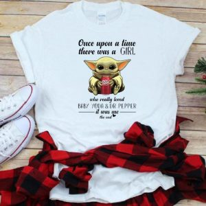 Awesome Once Upon A Time There Was A Girl Who Really Loved Baby Yoda And Dr Pepper shirt