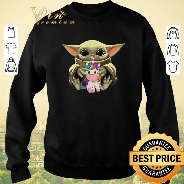 Awesome Star Wars Baby Yoda Hug Unicorn shirt sweater