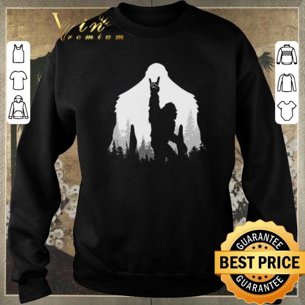 Funny Bigfoot Rock and Roll hand sign natural shirt sweater