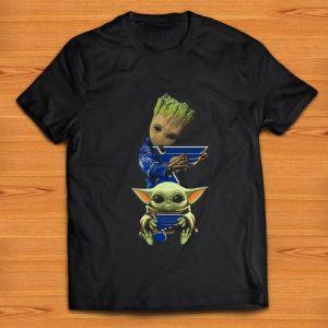 Hot Baby Yoda and Baby Groot hug St. Louis Blues shirt