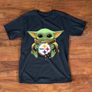 Nice Star Wars Baby Yoda Hug Pittsburgh Steelers Autism shirt