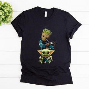 Original Baby Yoda and Baby Groot hug San Jose Sharks shirt