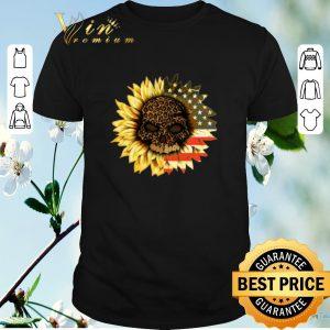 Pretty American flag USA Sunflower Skull leopard shirt sweater