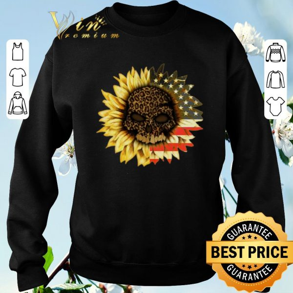 Pretty American flag USA Sunflower Skull leopard shirt sweater