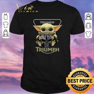 Pretty Baby Yoda hug Triumph Motorcycles shirt sweater