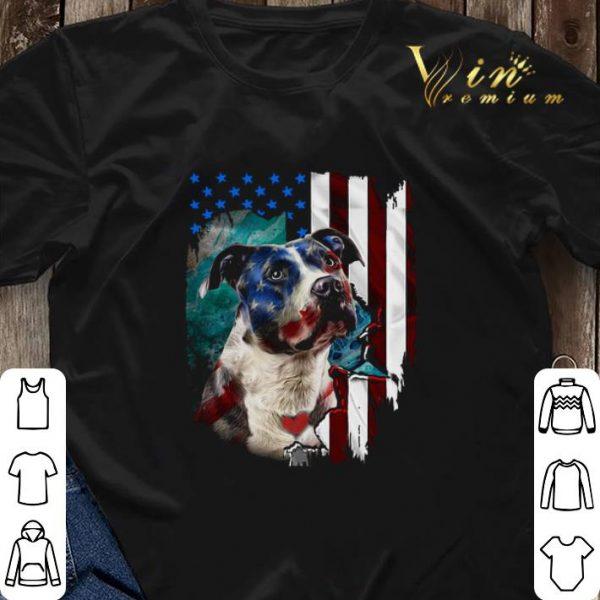 American flag Pitbull dog USA flag shirt sweater