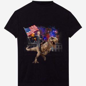 Hot Trump Riding a Dinosaur T-rex Fireworks American Flag shirt
