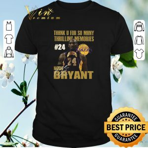 Official Thank u for so many thrilling memories #24 Lakers Kobe Bryant signed shirt sweater