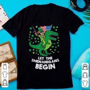 Original Donald Trump Gun T-rex Let Shenanigans Begin St Patricks Day shirt