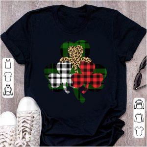 Premium Buffalo Plaid St Patricks Day Womens Leopard Shamrock shirt