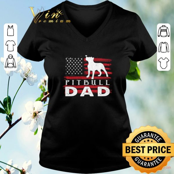 Pretty American flag Pitbull Dad shirt sweater
