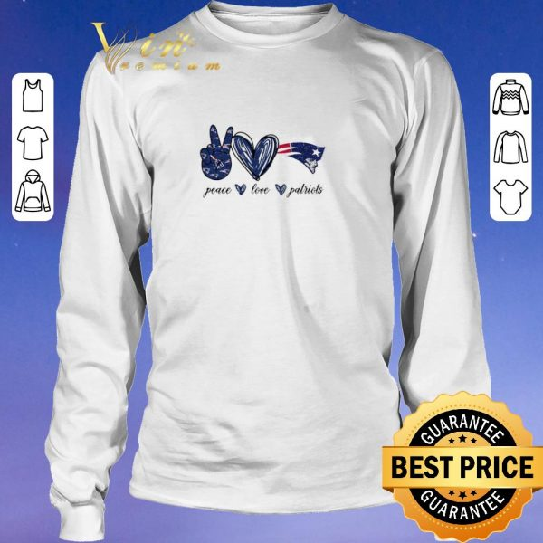 Awesome Peace Love New England Patriots logo shirt sweater