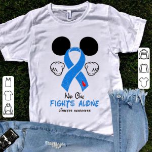 Hot Disney Mickey Mouse No One Fights Alone Diabetes Awareness shirt