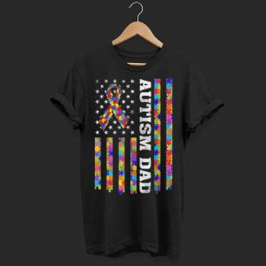 Autism Awareness Proud Autism Dad Vintage US Flag shirt