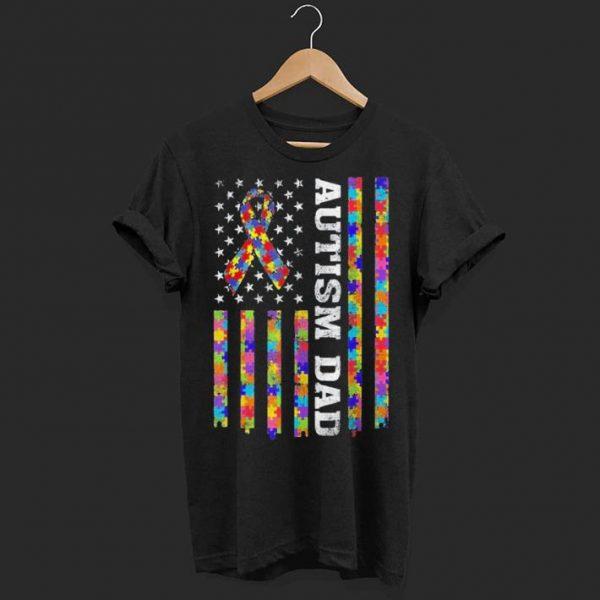 Autism Awareness Proud Autism Dad Vintage US Flag shirt