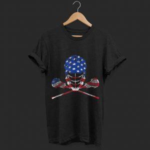 Lacrosse American Flag, Lax Helmet And Sticks shirt