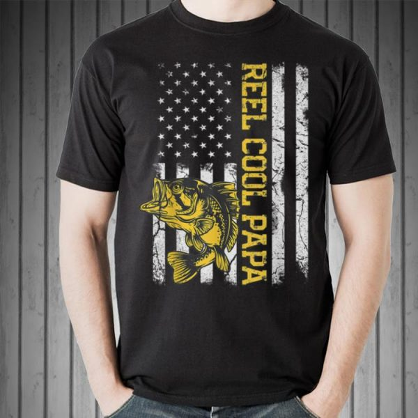 Fathers Day Fishing Reel Cool Papa American Flag shirt