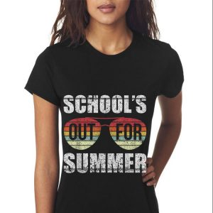 Retro Last Day Of Schools Out For Summer Teacher Sunset Sunglass shirt 2