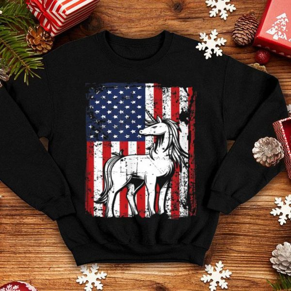 4th Of July American Flag Majestic Horse Unicorn shirt