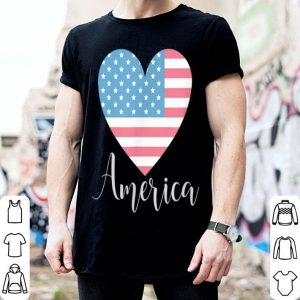 America Heart Flag Independence Day July 4th shirt