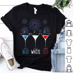 Blue White Red Wine Glasses Patriotic 4th Of July American Flag shirt