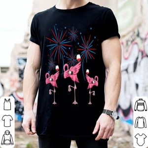 Dabbing Flamingo With Wine Glass Firework 4th Of July shirt