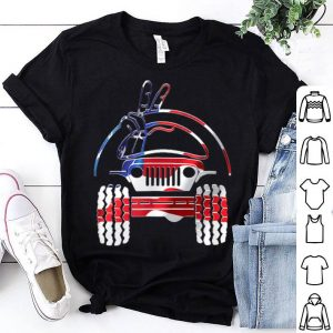 Jeep Driver Wave Peace Fingers Sign 4th of July Flag colors shirt