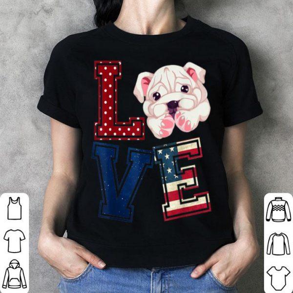 Love Pitbull Face American Flag Patriotic 4th Of July shirt
