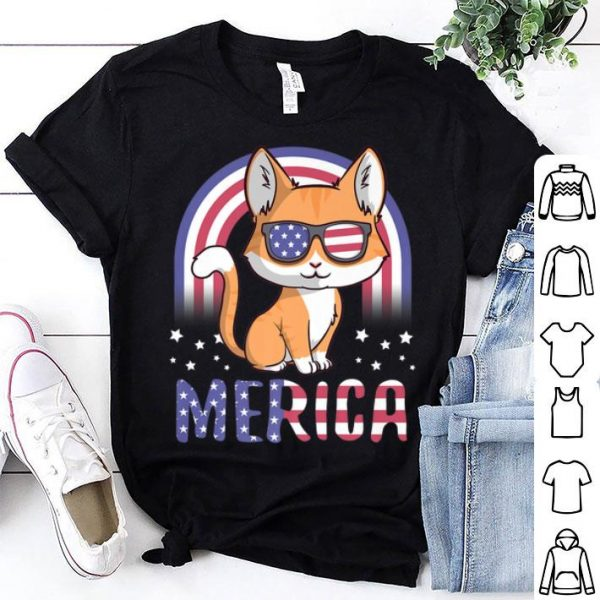 Merica Cat Patriotic USA Flag 4th Of July American shirt
