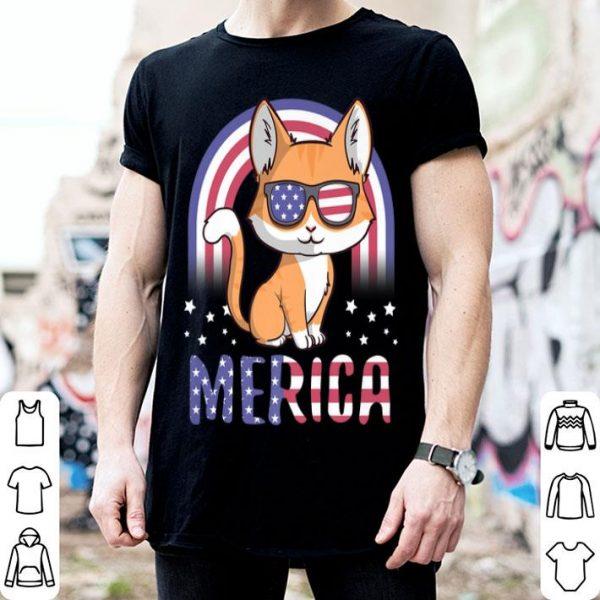 Merica Cat Patriotic USA Flag 4th Of July American shirt