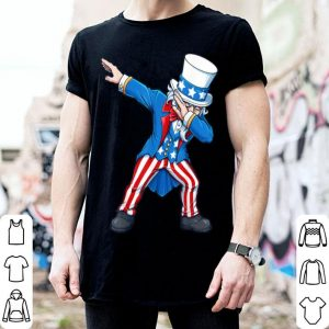 Patriotic Boys Kids 4th Fourth Of July Dabbing Uncle Sam USA Flag shirt