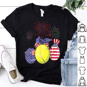 Red White Blue Tennis USA Flag Firework 4th Of July shirt