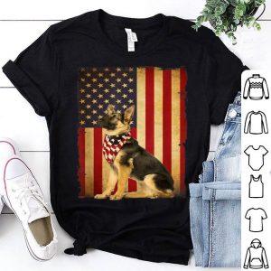Vintage German Shepherd Dog 4th Of July American Flag shirt