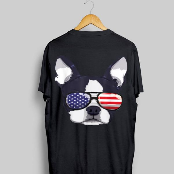 Boston Terrier 4Th Of July American Sunglass Boys Girls shirt