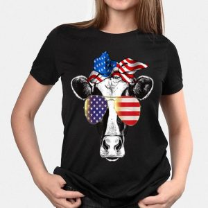 Cow Sunglasses Bandana Us American Flag 4Th Of July shirt