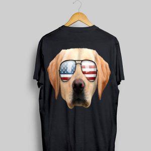 Cute Patriotic Yellow Lab Sunglasses Dog shirt