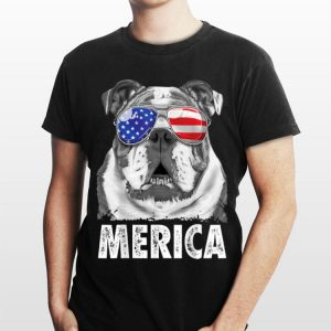 English Bulldog 4Th Of July Merica Usa Flag shirt